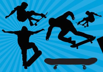 Skateboard Silhouette Vectors - Free vector #148935