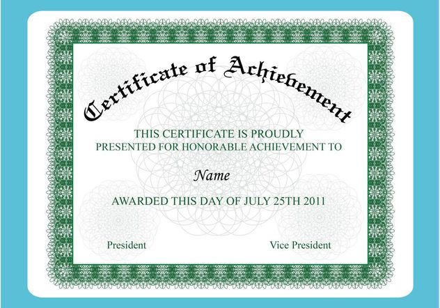 Achievement Certificate - Free vector #148995