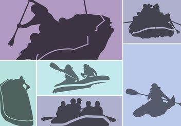 River Rafting Silhouette Vector Set - бесплатный vector #149165