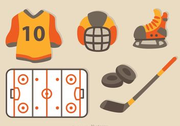 Hockey Flat Icons - Free vector #149235