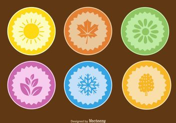 Seasons Flat Vector Badges - бесплатный vector #149255