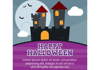 Halloween Castle Card - vector gratuit #149295