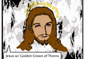 Jesus Vector with Golden Crown of Thorns - Free Vector - vector gratuit #149455