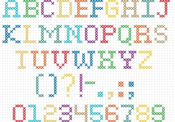 Cross Stitch Vector Font - Free vector #149565
