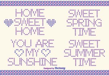 Cross Stitch Vector Style Text Labels - Free vector #149585