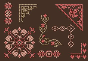 Cross Stitch Border Set - Free vector #149605