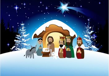 Cartoon Nativity Vector - Free vector #149735