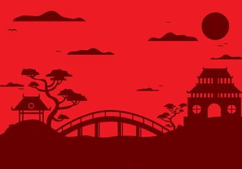 Chinese Temple Landscape Vector Background - Free vector #150125