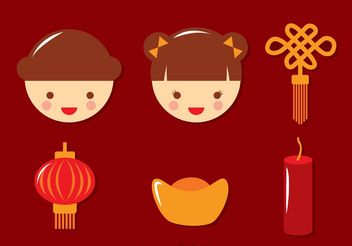 Flat Chinese Lunar New Year Icons Vector - бесплатный vector #150205