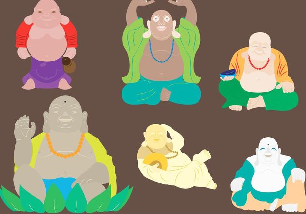 Vector Illustration of Fat Buddha in Six Different Body Positions - Free vector #150245