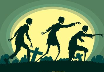 Walking Zombies Silhouette Vector - Free vector #150255