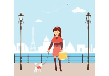 Free Vector Shopping Girl In Paris - Free vector #150275