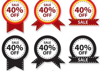 Sale 40 Percent Off Badge Vectors - Free vector #150395