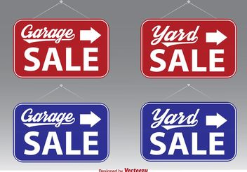 Garage Sale Vector Signs - vector gratuit #150475