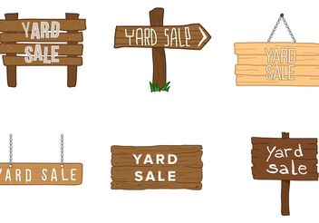 Yard Sale Wooden Sign Vectorss - vector gratuit #150495