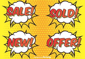 Comic Style Sale Labels - Free vector #150545