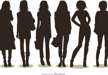 Silhouette Fashion Girl Vectors Pack 1 - Free vector #150575