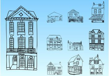 Buildings Sketches - Free vector #150655