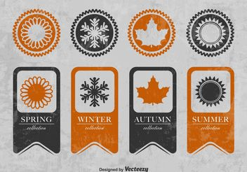 Seasonal Textured Ribbons and Badges - бесплатный vector #150675
