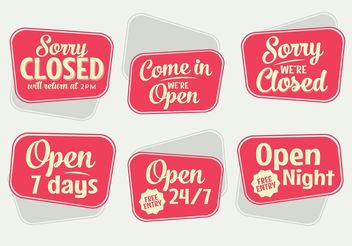 Retro Open Sign Vectors - бесплатный vector #150765
