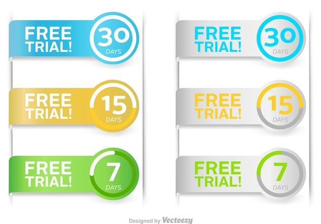 Free Trial Vector Buttons - Kostenloses vector #150795