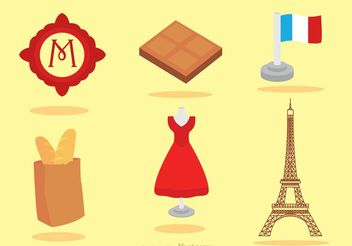 Set Of Paris Icons Vector - Free vector #150835