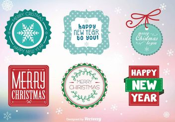 Merry Xmas Badges - Free vector #151195