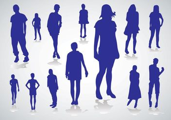 People Silhouettes Vectors - Free vector #151295