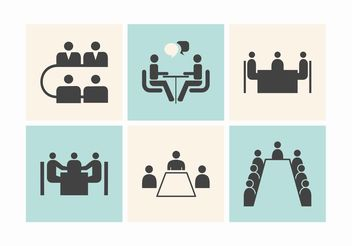 Free Business Meeting Tables Vector Icons - Free vector #151425