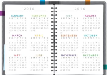 Calendar Notebook 2016 - Free vector #152315