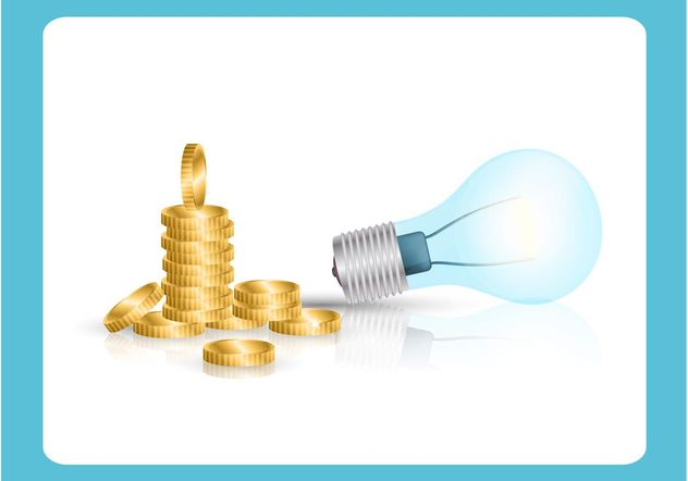 Light Bulb and Coins Vector - Free vector #152545