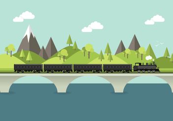 Free Steam Train In Landscape Vector - vector gratuit #152575