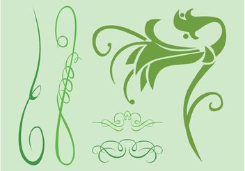 Swirling Green Plants - vector gratuit #152735