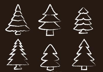 Chalk Drawn Cedar Tree Vectors - vector gratuit #152885