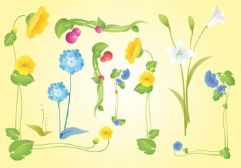 Beautiful Flowers Vectors - vector gratuit #152955