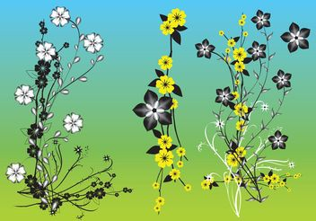 Chinese Flowers Vector Art - Free vector #153055
