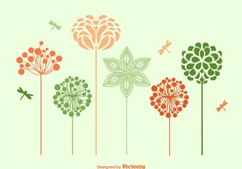 Spring Flowers Silhouettes - Free vector #153095