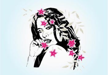 Woman With Flowers - vector gratuit #153155