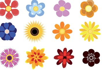 Cute Flowers - vector gratuit #153265