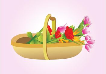 Flowers Basket Vector - бесплатный vector #153345