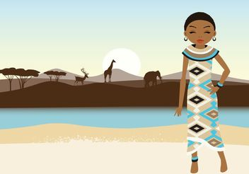 Free Vector African Girl And Landscape - Free vector #153375