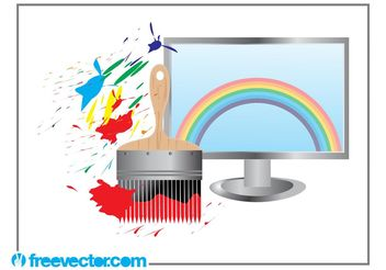 Rainbow Computer Screen - vector gratuit #153595