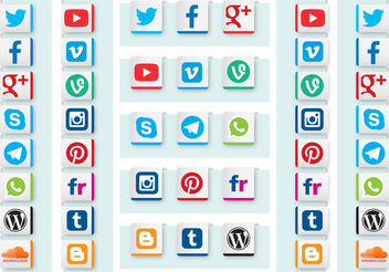 Social Media Ribbon Vectors - vector gratuit #153855