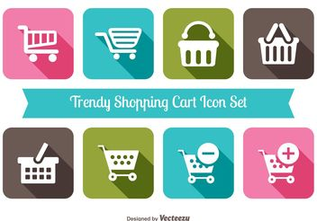 Trendy Shopping Cart Icon Set - Free vector #153865