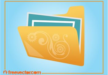 Folder With Flowers - Free vector #154005