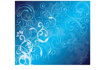 Blue Floral Vector Background - vector #154655 gratis