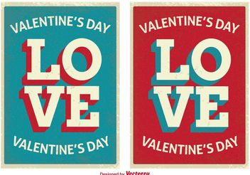 Retro Style Cute Valentine's Day Cards - vector gratuit #155065