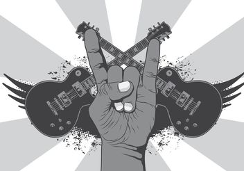 Rock n Roll Music Symbol Vector Background - бесплатный vector #155415