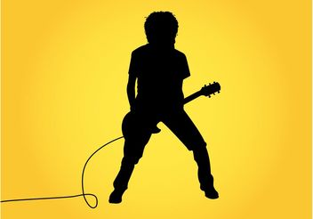 Guitar Player Silhouette Graphics - Free vector #155595