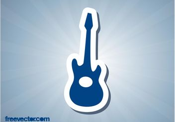 Guitar Sticker - vector #155605 gratis